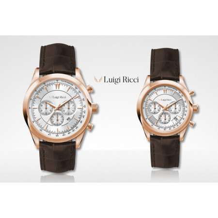 Luigi Ricci Eleganza X10 & X11 - Chronograph Mens & Womens Wrist Watch  gift set with rose gold and leather strap