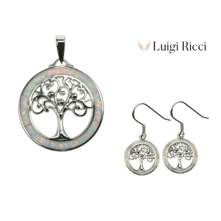 Tree of Life pendant necklace and earrings jewelry set with 925 Sterling silver and white snow opal stone