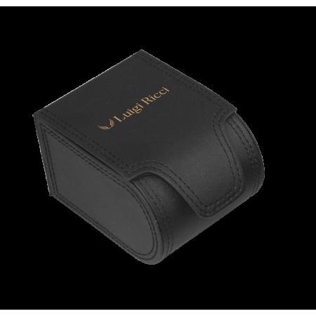 Luigi Ricci Roma Classica - Black Unisex Watch with Rose Gold case & Leather Strap