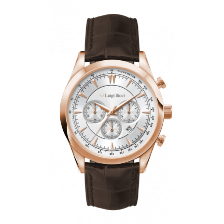 Luigi Ricci Eleganza X10 - Chronograph Mens Wrist Watch with rose gold and leather strap