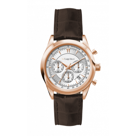 Luigi Ricci Eleganza X11 - Chronograph Womens Wrist Watch with rose gold and leather strap