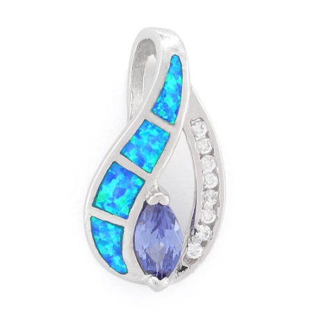 Marquise - Opal pendant and necklace with 925 Sterling silver, blue opal stone, zirconia and rhodium plating
