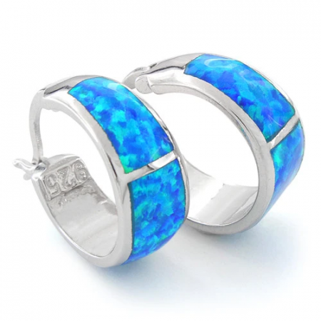 Mykonos opal earrings with 925 Sterling silver, blue opal stone and rhodium plating