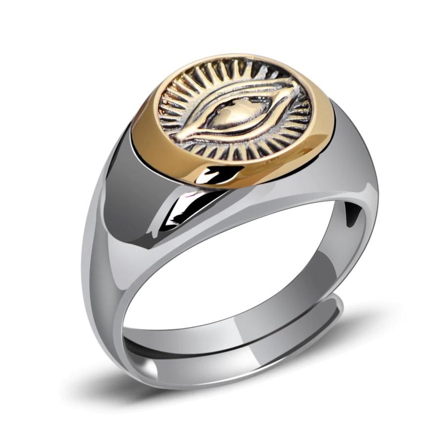 Herrering med 925 Sterling Sølv Eye of Providence ring/Alt-Seende Øje one-size