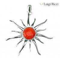 Luigi Ricci 925 Sterling Silver Jewelry With Orange Fire Opal Stone