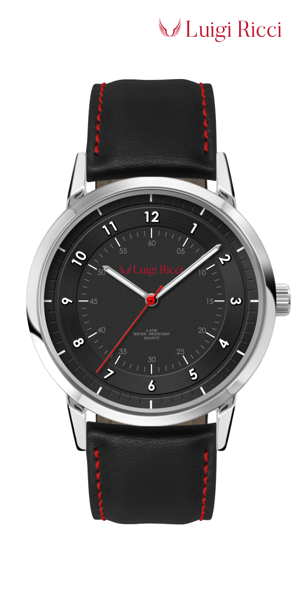 Luigi Ricci Pro Racer black sports watch for men with leather strap