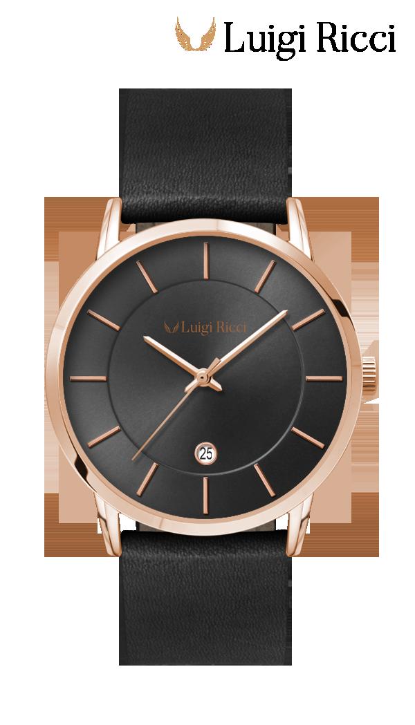 Luigi Ricci Roma Classica - Black Italian watch with leather strap