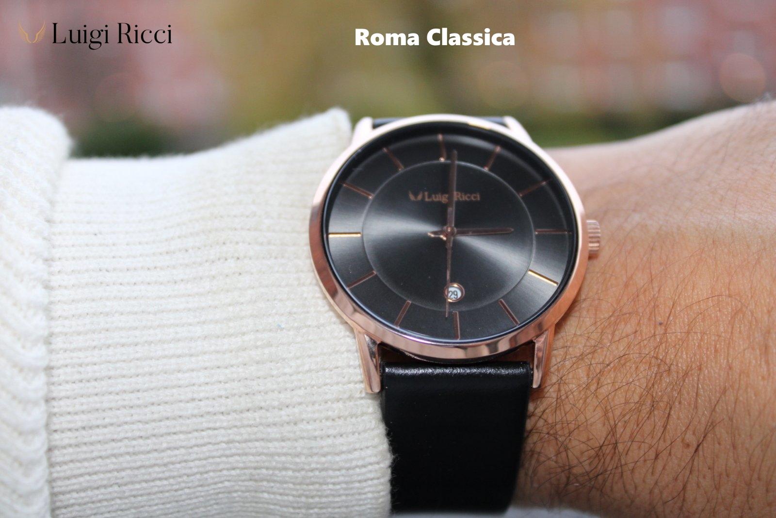 Luigi Ricci Roma Classica Italian quality unisex wrist watch Black with leather